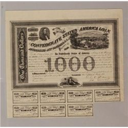 1863 One thousand dollar eight percent CSA loan certifi