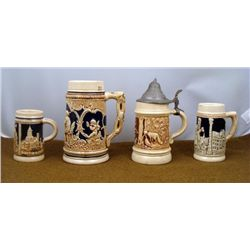 FOUR GERMAN MADE STEINS-HUNTING, PEASANT & PROVENCE