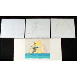 Batman & Robin Orig Animation Production Cel w/ Drawing
