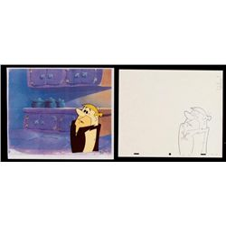 Barney Original Animation Cel Flintstones Drawing Uh-Oh