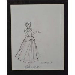 Cinderella Orig Disney Drawing Signed Philo Barnhart