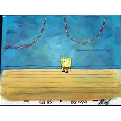 SpongeBob Orig Production Cel & Background After Party