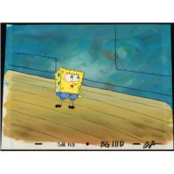 Original SpongeBob Animation Cel & Background Pointing