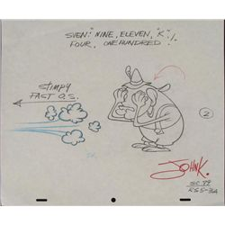 Signed Ren and Stimpy Animation Original Drawing