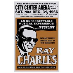 Ray Charles, Seattle, New Year's Eve, 1966 Signed