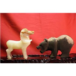 Original Hand Carved Marble  Bear & Goat  by G. Huerta