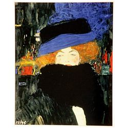 Klimt  Signed Limited Edition - lady with a Feathered Boa