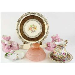 Good lot of porcelain, china and glass includes antique pink satin glass dresser jar with elephant f
