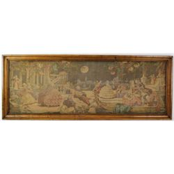 Victorian period framed cloth tapestry depicting moonlight dance scene, ready to hang 23  X 61 .