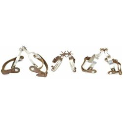 Collection of 3 pairs of spurs includes Kelly's with leathers, aluminum pair of Crocketts with leath