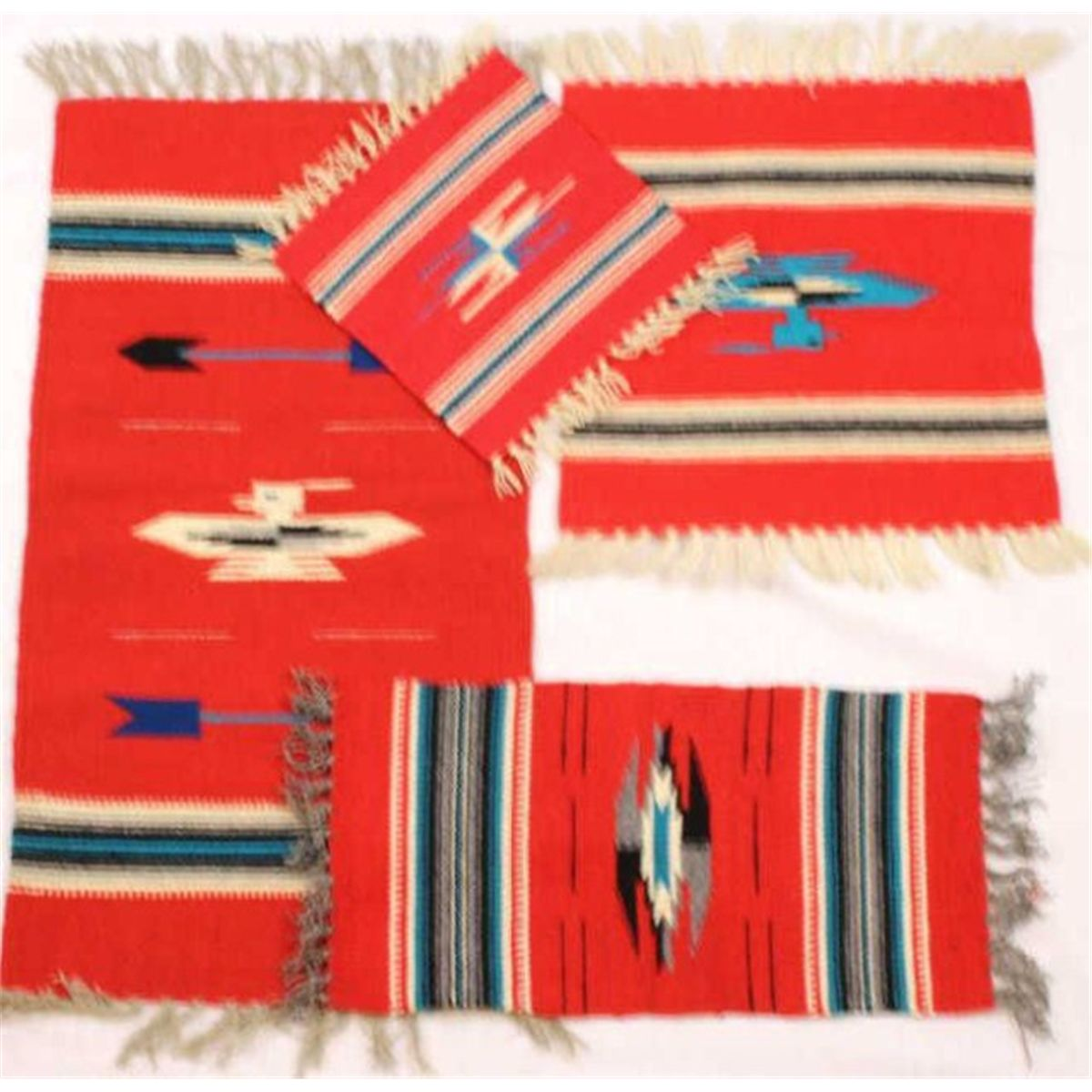 Collection Of 4 Small Vintage Mexican Rugs The First With Thunderbird Design 15 X 29 In Fine Condi