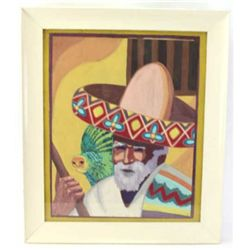 Original painting of a Mexican Senior with Parrot and sombrero signed Carol Wickes, image size 19 1/