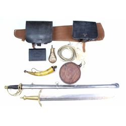Collection of 10 reproduction civil war items including 3 leather ammo boxes, 2 swords, canteen, pow