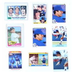 Collection of baseball cards includes Topps 350 Mickey Mantle 1965, 1982 Topps 21 with Cal Ripkin Jr