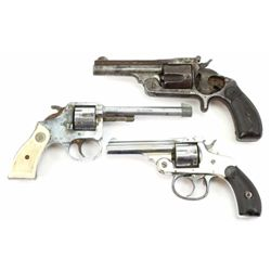 Collection of 3 revolver includes H&R top break .22 cal. nickel finish and hard rubber grips, poor b