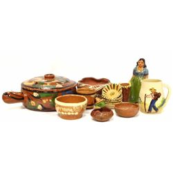 Collection of 15 Mexican pottery pieces including 1 hand painted lidded pot with handle, 1 Mexican l