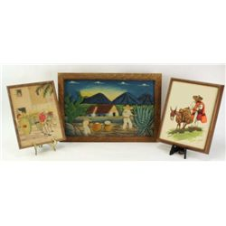Collection of 3 Mexican art includes vintage watercolor of Mexican and Burro signed lower right corn