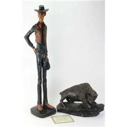 "Collection of 2 sculptures includes buffalo cast in hydrastone 17"" long, includes certificate, and"