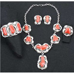 Fine Navajo matching jewelry set in sterling silver and red coral by Donald Chee includes necklace,