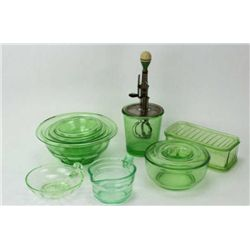 Collection of 6 original green depression glass includes D&B marked mixer, lidded refrigerator jar,