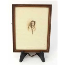"Original colored pencil drawing C. 1900 signed Hazel, nicely accomplished, framed 7"" X 9""."