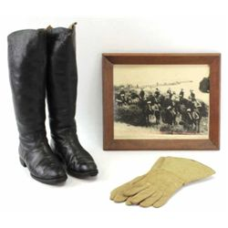 Collection of 3 includes 19th C. high top military boots in very good plus condition, one pair leath