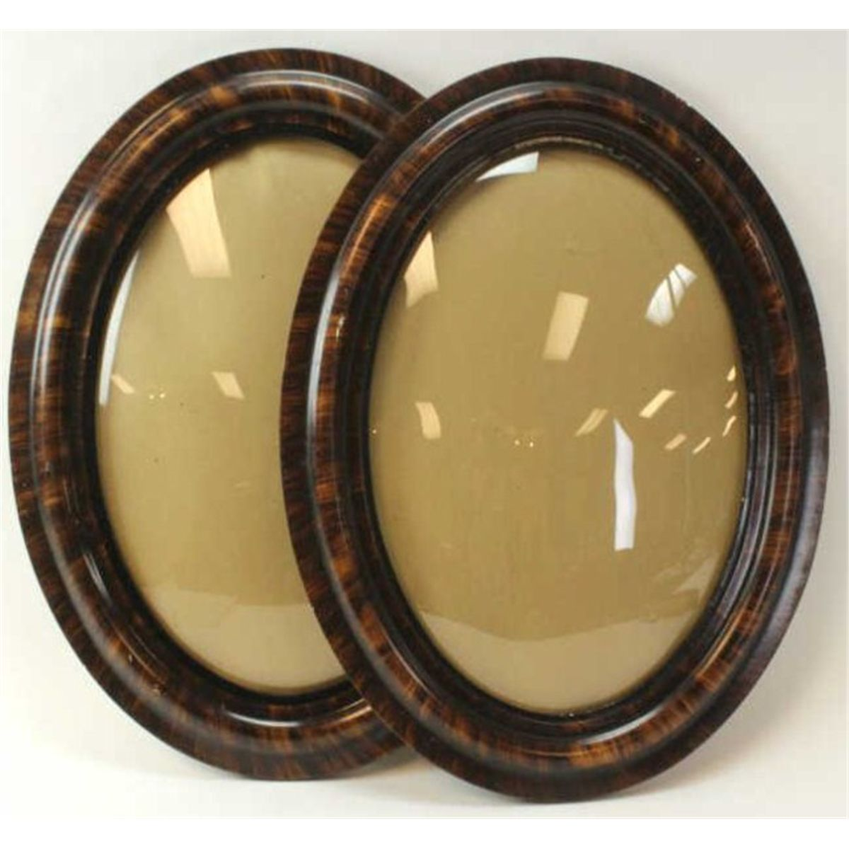 One pair antique picture frames oval with original bubble glass one pair antique picture frames oval with original bubble glass and finish 25 tall jeuxipadfo Image collections