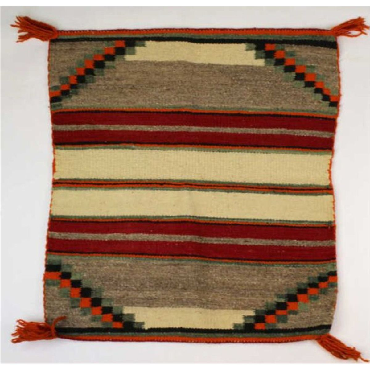 Vintage Navajo Rug With Orange Black Red Brown White And Gray Colors In A Geometrical Pattern Me