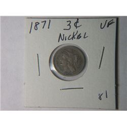 1871 3 CENT NICKLE
