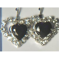BLACK HEART WITH SIMULATED DIAMONDS