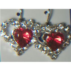 RED HEART WITH SIMULATED DIAMONDS