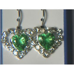 GREEN HEART WITH SIMULATED DIAMONDS