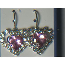 PINK HEART WITH SIMULATED DIAMONDS
