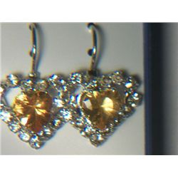YELLOW HEART WITH SIMULATED DIAMONDS