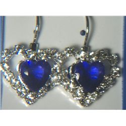 DARK BLUE HEART WITH SIMULATED DIAMONDS