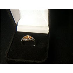 PLATNIUM OVERLAY SILVER MEXICAN FIRE OPAL WITH DIAMONDS