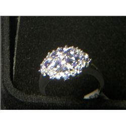 TANZANITE CLUSTER PLATNIUM OVERLAY SILVER RING SIZE 8