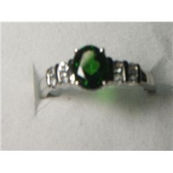 RUSSIAN CHROME DIOPSIDE WHITE TOPAZ RING SIZE 7