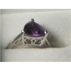 AMETHYST TRI SOLITARE PLATNIUM  OVERLAY SILVER RING SIZE 8