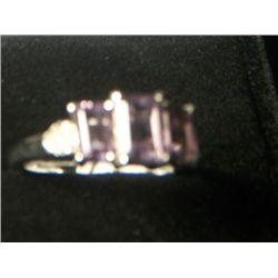 AFRICAN AMETHYST WITH DIAMOND RING SIZE 7