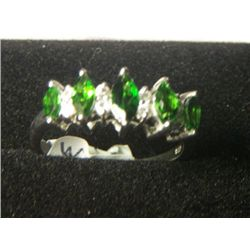 RUSSIAN CHROME DIOPSIDE WHITE ZIRCON PLATNIUM OVERLAY SILVER