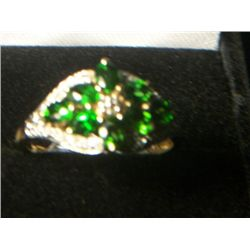 RUSSIAN CHROME DIOPSIDE DIAMOND RING 14k YELLOW GOLD  OVERLAY SILVER