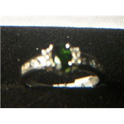 RUSSIAN CHROME DIOPSIDE DANBURITE PLATNIUM OVERLAY SILVER RING SIZE 8