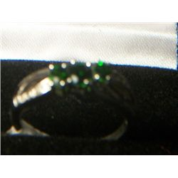 RUSSIAN CHROME DIOPSIDE DIAMOND 3 STONE RING