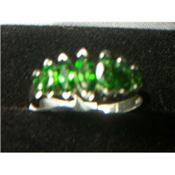 RUSSIAN CHROME DIOPSIDE PLATNIUM OVERLAY SILVER MRQ RING SIZE 8
