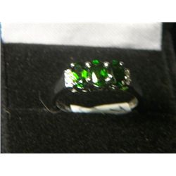 RUSSIAN DIOPSIDE PLATNIUM OVERLAY SILVER WHITE TOPAZ TRILOGY