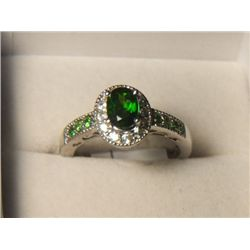 RUSSION DIOPSIDE CAMBODIAN ZIRCON RING SIZE 7