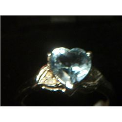 BLUE TOPAZ HEART SILVER DIAMOND RING SIZE 6.5