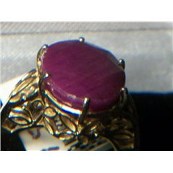 14k GOLD RUBY SOLITARE RING SIZE 7