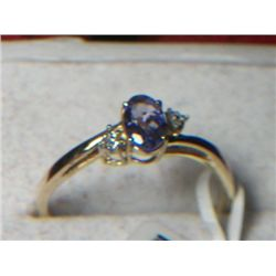 10k GOLD TANZANITE AND DIAMOND RING SIZE 8